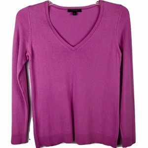 Ann Taylor 100% Cashmere Sweater Pink V-Neck  M